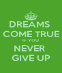 DREAMS  COME TRUE IF YOU NEVER  GIVE UP - Personalised Poster A4 size
