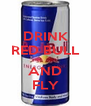 DRINK RED BULL  AND FLY - Personalised Poster A4 size