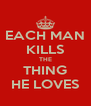 EACH MAN KILLS THE THING HE LOVES - Personalised Poster A4 size