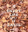 ENJOY LIFE WHILE  IT LASTS - Personalised Poster A4 size