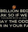 EVERY REBELLION BEGINS WITH A SPARK SO IF WE BURN YOU BURN WITH US AND MAY THE ODDS BE EVER IN YOUR FAVOUR - Personalised Poster A4 size