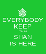 EVERYBODY KEEP CALM SHAN IS HERE - Personalised Poster A4 size