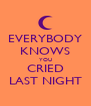 EVERYBODY KNOWS YOU CRIED LAST NIGHT - Personalised Poster A4 size