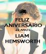 FELIZ  ANIVERSÁRIO 23 ANOS LIAM  HEMSWORTH - Personalised Poster A4 size