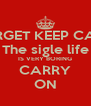 FORGET KEEP CALM The sigle life IS VERY BORING CARRY ON - Personalised Poster A4 size