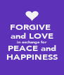 FORGIVE  and LOVE in exchange for PEACE and HAPPINESS - Personalised Poster A4 size
