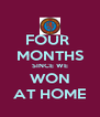 FOUR  MONTHS SINCE WE WON AT HOME - Personalised Poster A4 size