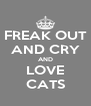 FREAK OUT AND CRY AND LOVE CATS - Personalised Poster A4 size