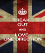 FREAK  OUT AND LOVE  ONE DIRECTION - Personalised Poster A4 size
