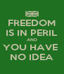 FREEDOM IS IN PERIL AND YOU HAVE  NO IDEA - Personalised Poster A4 size