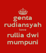 genta rudiansyah love rullia dwi mumpuni - Personalised Poster A4 size
