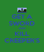 GET A SWORD AND KILL CREEPER'S - Personalised Poster A4 size