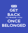 GET BACK TO WHERE YOU ONCE BELONGED - Personalised Poster A4 size
