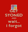 GET STONED AND wait... I forgot - Personalised Poster A4 size