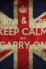 grandma & grandad KEEP CALM  and  CARRY ON  - Personalised Poster A4 size