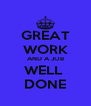 GREAT WORK AND A JOB WELL  DONE - Personalised Poster A4 size
