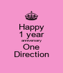 Happy 1 year anniversary One Direction - Personalised Poster A4 size