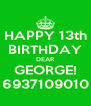 HAPPY 13th BIRTHDAY DEAR GEORGE! 6937109010 - Personalised Poster A4 size