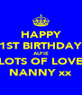 HAPPY 1ST BIRTHDAY ALFIE LOTS OF LOVE NANNY xx - Personalised Poster A4 size