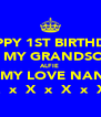 HAPPY 1ST BIRTHDAY TO MY GRANDSON  ALFIE  ALL MY LOVE NANNY  X  x  X  x  X  x  X  - Personalised Poster A4 size