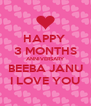 HAPPY  3 MONTHS ANNIVERSARY BEEBA JANU I LOVE YOU - Personalised Poster A4 size