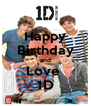 Happy Birthday and Love  1D - Personalised Poster A4 size