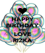 HAPPY BIRTHDAY AND LOVE RIZKA - Personalised Poster A4 size
