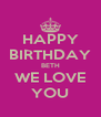 HAPPY BIRTHDAY BETH WE LOVE YOU - Personalised Poster A4 size