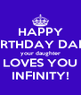 HAPPY BIRTHDAY DAD! your daughter LOVES YOU INFINITY! - Personalised Poster A4 size