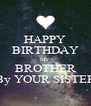 HAPPY BIRTHDAY MY BROTHER By YOUR SISTER - Personalised Poster A4 size