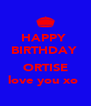 HAPPY  BIRTHDAY   ORTISE love you xo  - Personalised Poster A4 size