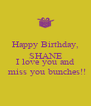 Happy Birthday, SHANE ********** I love you and  miss you bunches!! - Personalised Poster A4 size