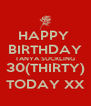 HAPPY  BIRTHDAY TANYA SUCKLING 30(THIRTY) TODAY XX - Personalised Poster A4 size