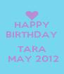 HAPPY BIRTHDAY              TARA  MAY 2012 - Personalised Poster A4 size