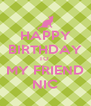 HAPPY BIRTHDAY TO  MY FRIEND NIC - Personalised Poster A4 size