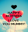 HAPPY MOTHERS DAY I LOVE  YOU MUMMY! - Personalised Poster A4 size