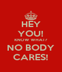 HEY YOU! KNOW WHAT? NO BODY CARES! - Personalised Poster A4 size