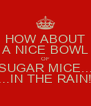 HOW ABOUT A NICE BOWL OF SUGAR MICE... ...IN THE RAIN! - Personalised Poster A4 size