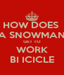 HOW DOES  A SNOWMAN GET TO WORK BI ICICLE - Personalised Poster A4 size