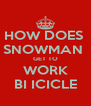 HOW DOES  SNOWMAN  GET TO WORK BI ICICLE - Personalised Poster A4 size