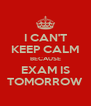 I CAN'T KEEP CALM BECAUSE EXAM IS TOMORROW - Personalised Poster A4 size