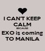 I CAN'T KEEP CALM BECAUSE EXO is coming TO MANILA - Personalised Poster A4 size