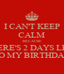 I CAN'T KEEP CALM BECAUSE THERE'S 2 DAYS LEFT TO MY BIRTHDAY - Personalised Poster A4 size