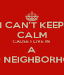 I CAN'T KEEP CALM CAUSE I LIVE IN  A HOOD NEIGHBORHOOD  - Personalised Poster A4 size