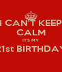 I CAN'T KEEP CALM IT'S MY  21st BIRTHDAY   - Personalised Poster A4 size
