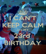 I CAN'T KEEP CALM ITS MY 23rd  BIRTHDAY - Personalised Poster A4 size