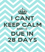 I CANT KEEP CALM BABY IS DUE IN 28 DAYS - Personalised Poster A4 size