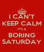 I CAN'T KEEP CALM IT'S A BORING SATURDAY - Personalised Poster A4 size