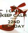 I CANT KEEP CALM ITS MY 22ND BIRTHDAY  - Personalised Poster A4 size