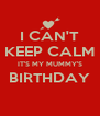 I CAN'T KEEP CALM IT'S MY MUMMY'S BIRTHDAY  - Personalised Poster A4 size